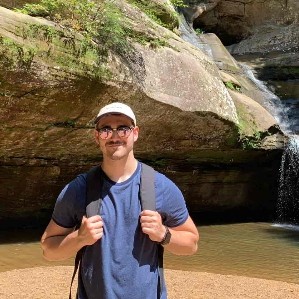 Sam Bloch hiking in Hocking Hills